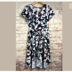 Lane Bryant 18 Petite 2X High Low Dress Short Slv